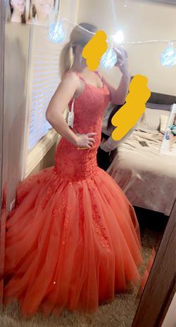 Sherri Hill Orange Size 4 Tulle Mermaid Dress on Queenly