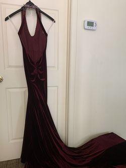 Mac Duggal Purple Size 2 Pageant V Neck Side Slit Velvet Train Dress on Queenly