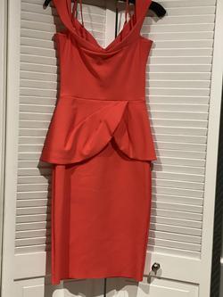 Chiaraboni Orange Size 4 Wedding Guest Bodycon Cocktail Dress on Queenly
