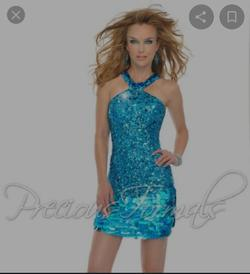 Style P8874 Precious Formals Blue Size 0 Halter Nightclub Cocktail Dress on Queenly