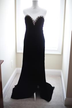The Crown Collection Black Size 2 Pageant Side Slit Velvet A-line Dress on Queenly