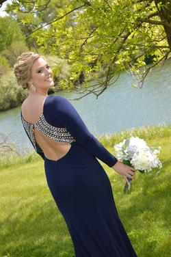 Jovani Blue Size 10 Prom Long Sleeve Straight Dress on Queenly