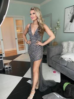 Jovani Silver Size 2 Plunge Pageant Prom Side slit Dress on Queenly