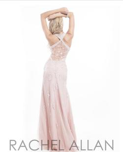 Style 6878 Rachel Allan Light Pink Size 8 Pageant Fully-beaded Halter Straight Dress on Queenly