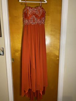 Nox Anabel Orange Size 8 Strapless Pageant Sequin Side slit Dress on Queenly