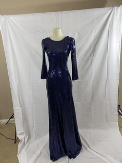 Tadishi Shoji Blue Size 2 Sequin Jersey Fitted Straight Dress on Queenly