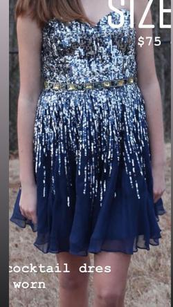 Sherri Hill Blue Size 4 Strapless Sequin Cocktail Dress on Queenly