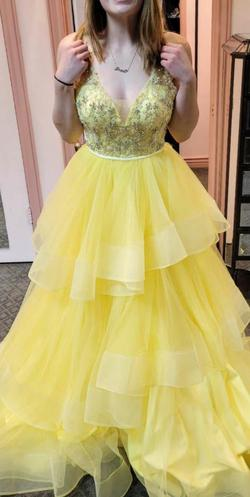 Rachel Allan Yellow Size 6 Ruffles Pageant Ball gown on Queenly
