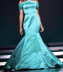 Sherri Hill Blue Size 6 Teal Mermaid Dress on Queenly