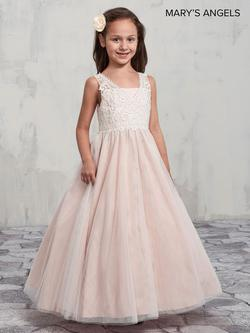 Style MB9002 Mary's Pink Size 00 V Neck Flower Girl Ball gown on Queenly