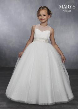 Style MB9037 Mary's White Size 00 Sequin Ball gown on Queenly