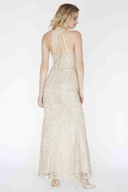 Style E80002 Kimberly's Exclusive Gold Size 10 Sorority Formal Pageant Side slit Dress on Queenly