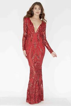 Style E80001 Kimberly's Exclusive Red Size 4 Pageant Mermaid Dress on Queenly
