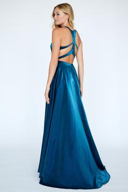 Style E20027 Kimberly's Exclusive Blue Size 2 Teal Silk Side slit Dress on Queenly