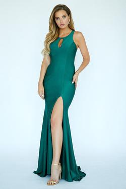 Style E20019 Kimberly's Exclusive Green Size 0 Pageant Jersey Silk Side slit Dress on Queenly