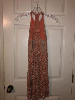 Sherri Hill Orange Size 6 Halter Nightclub Cocktail Dress on Queenly