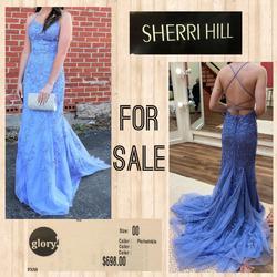 Sherri Hill Light Blue Size 00 Train A-line Dress on Queenly