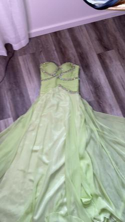 Dave & Johnny Green Size 2 Strapless Pageant A-line Dress on Queenly