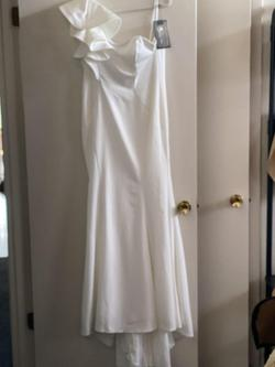Mcduggal White Size 8 Pageant Mermaid Wedding Straight Dress on Queenly