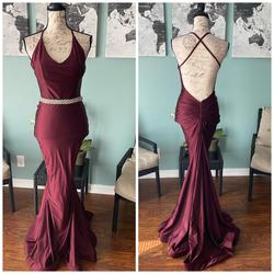Jessica Angel Red Size 2 Halter Train Fitted Mermaid Dress on Queenly