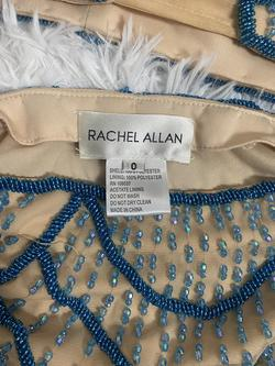 Rachel Allan Nude Size 0 Two Piece Royal Blue Pageant A-line Dress on Queenly