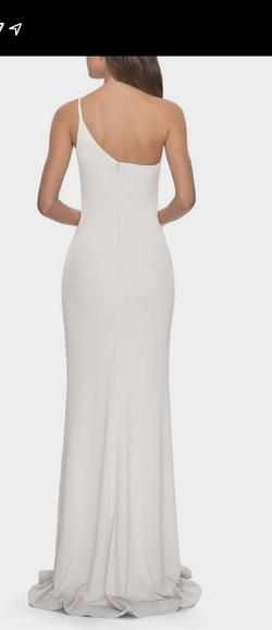 La Femme White Size 10 Pageant Wedding Side Slit Straight Dress on Queenly