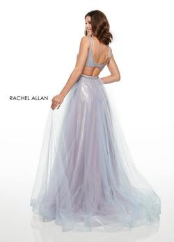 Style 7015 Rachel Allan Purple Size 4 Light Blue Pageant V Neck Ball gown on Queenly