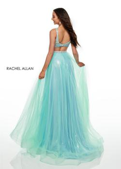 Style 7015 Rachel Allan Green Size 2 Light Blue Pageant V Neck Ball gown on Queenly