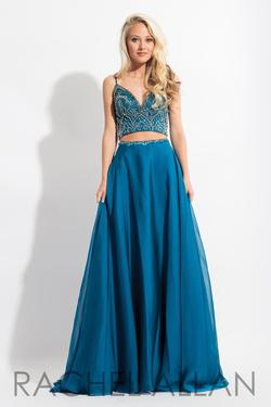 Style 6034 Rachel Allan Blue Size 12 Beaded Top Two Piece A-line Dress on Queenly