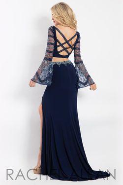 Style 6122 Rachel Allan Blue Size 8 Two Piece Jersey Side slit Dress on Queenly