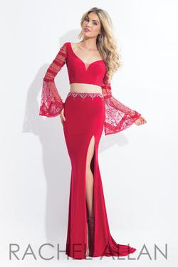 Style 6122 Rachel Allan Red Size 0 Two Piece Jersey Side slit Dress on Queenly