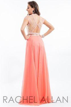 Style 2060 Rachel Allan Orange Size 0 Coral Straight Dress on Queenly