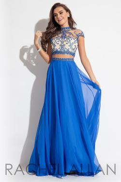Style 2060 Rachel Allan Blue Size 6 Pageant Winter Formal Sheer High Neck Straight Dress on Queenly