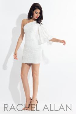 Style L1136 Rachel Allan White Size 4 Sorority Formal Mini Bodycon Cocktail Dress on Queenly