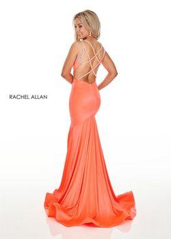 Style 7042 Rachel Allan Orange Size 8 Pageant Jersey Mermaid Dress on Queenly
