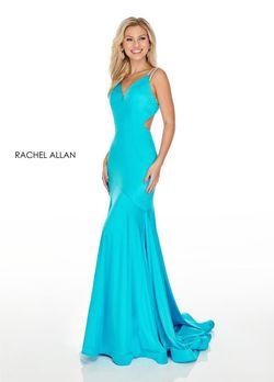 Style 7042 Rachel Allan Blue Size 8 Pageant Jersey Mermaid Dress on Queenly