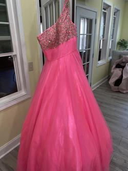 Tiffany Designs Pink Size 6 Tulle Beaded Top Ball gown on Queenly