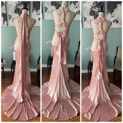 Sherri Hill Pink Size 4 Bodycon Jersey Silk Train Dress on Queenly