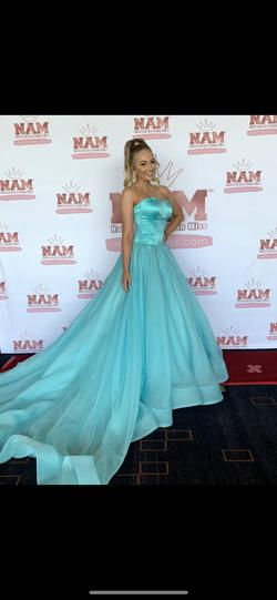 Sherri Hill Light Blue Size 4 Pageant Short Height Ball gown on Queenly