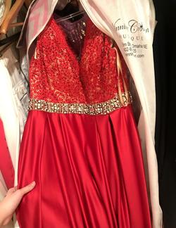 Jovani Red Size 6 Pageant Cap Sleeve Embroidery Ball gown on Queenly