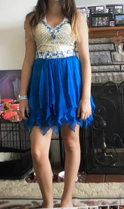 Sherri Hill Blue Size 8 Beaded Top Homecoming Cocktail Dress on Queenly