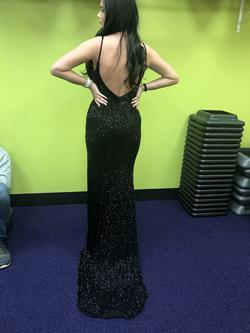 Johnathan Kayne Black Size 4 Liquid Beading Side Slit Custom A-line Dress on Queenly