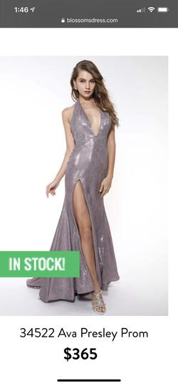Ava P Purple Size 2 Plunge Train Halter A-line Dress on Queenly