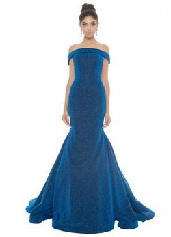 Style 1606 Ashley Lauren Blue Size 8 Shiny Mermaid Dress on Queenly