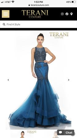 Terani Couture Blue Size 4 Pageant Mermaid A-line Dress on Queenly