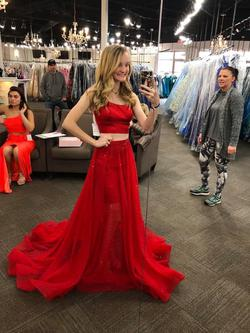 Sherri Hill Red Size 0 Two Piece Train Dress on Queenly