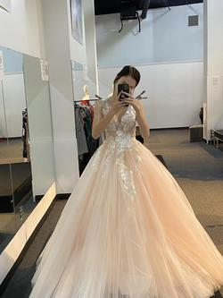 Sherri Hill Pink Size 00 Tall Height Tulle Plunge Halter Ball gown on Queenly