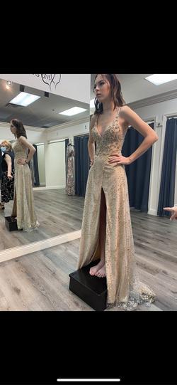 Gold Size 00 Side slit Dress on Queenly
