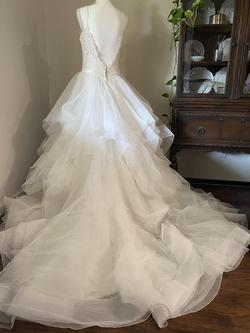 Allure Bridals White Size 12 Backless Spaghetti Strap Ruffles Ball gown on Queenly