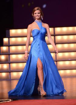 Jovani Blue Size 2 Pageant A-line Overskirt Side Slit Straight Dress on Queenly